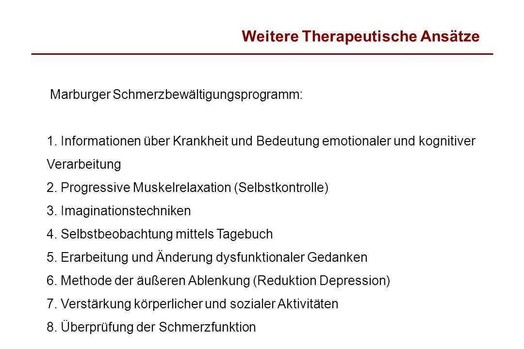 Weitere Therapeutische Ansätze Marburger Schmerzbewältigungsprogramm: 1. Informationen über Krankheit und Bedeutung emotionaler und kognitiver Verarbe