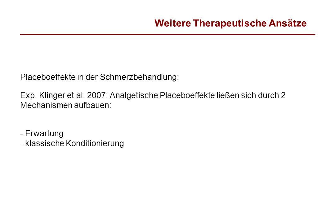 Weitere Therapeutische Ansätze Placeboeffekte in der Schmerzbehandlung: Exp. Klinger et al. 2007: Analgetische Placeboeffekte ließen sich durch 2 Mech
