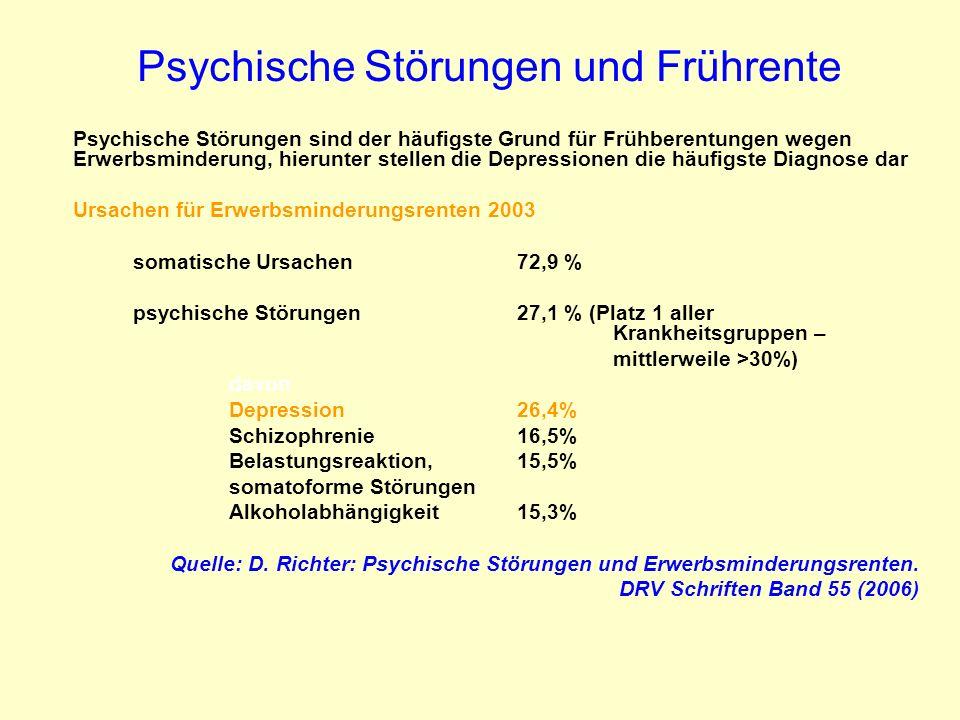Psychische Störungen und Frührente Psychische Störungen sind der häufigste Grund für Frühberentungen wegen Erwerbsminderung, hierunter stellen die Dep