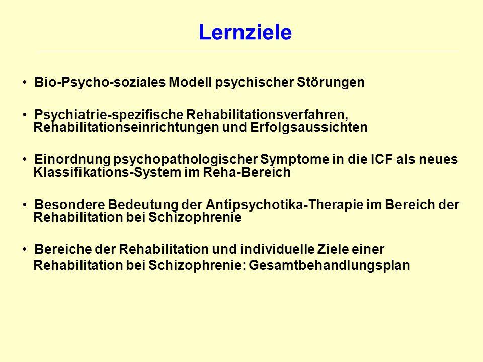 Lernziele Bio-Psycho-soziales Modell psychischer Störungen Psychiatrie-spezifische Rehabilitationsverfahren, Rehabilitationseinrichtungen und Erfolgsa
