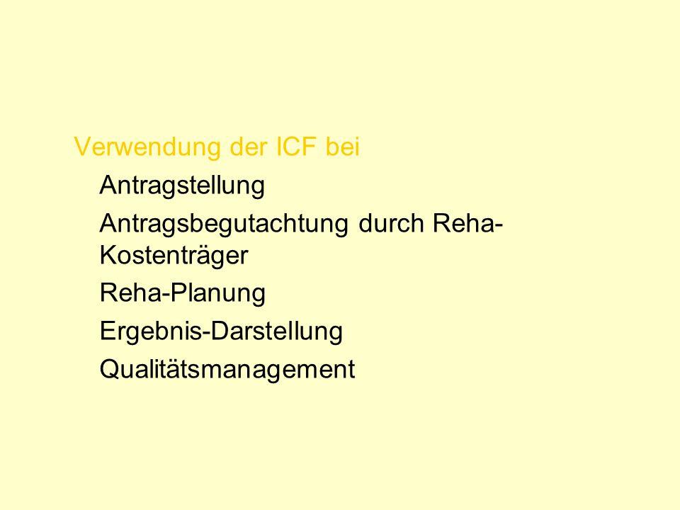 Verwendung der ICF bei Antragstellung Antragsbegutachtung durch Reha- Kostenträger Reha-Planung Ergebnis-Darstellung Qualitätsmanagement