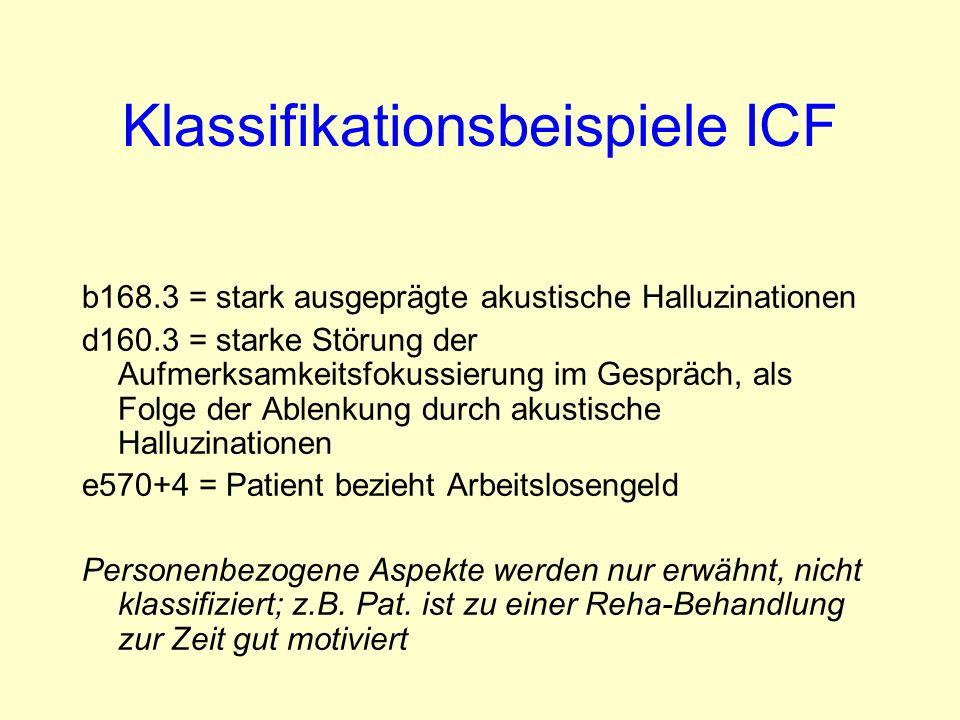 Klassifikationsbeispiele ICF b168.3 = stark ausgeprägte akustische Halluzinationen d160.3 = starke Störung der Aufmerksamkeitsfokussierung im Gespräch