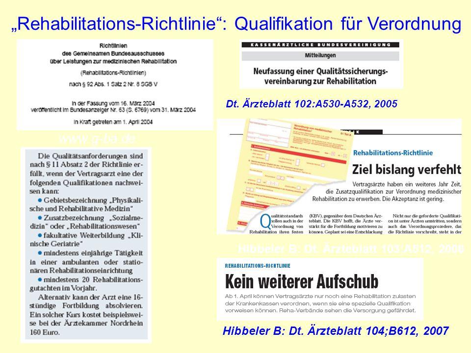 Hibbeler B: Dt. Ärzteblatt 103;A512, 2006 Rehabilitations-Richtlinie: Qualifikation für Verordnung www.g-ba.de Dt. Ärzteblatt 102:A530-A532, 2005 Hibb