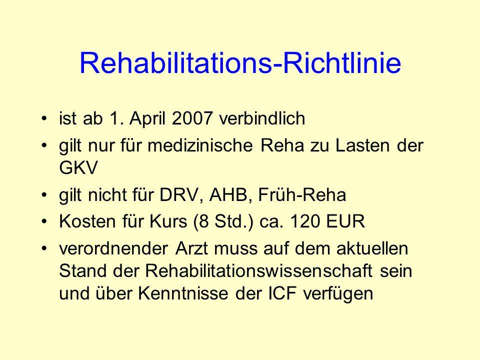 Rehabilitations-Richtlinie ist ab 1. April 2007 verbindlich gilt nur für medizinische Reha zu Lasten der GKV gilt nicht für DRV, AHB, Früh-Reha Kosten