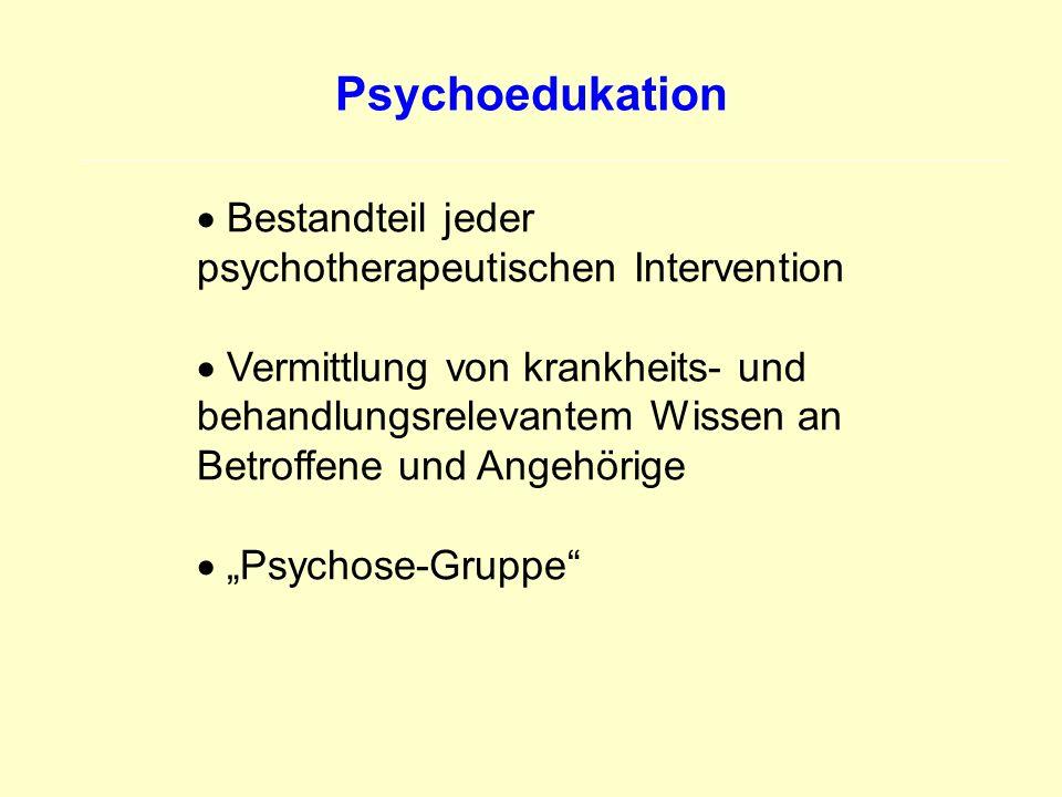 Psychoedukation Bestandteil jeder psychotherapeutischen Intervention Vermittlung von krankheits- und behandlungsrelevantem Wissen an Betroffene und An