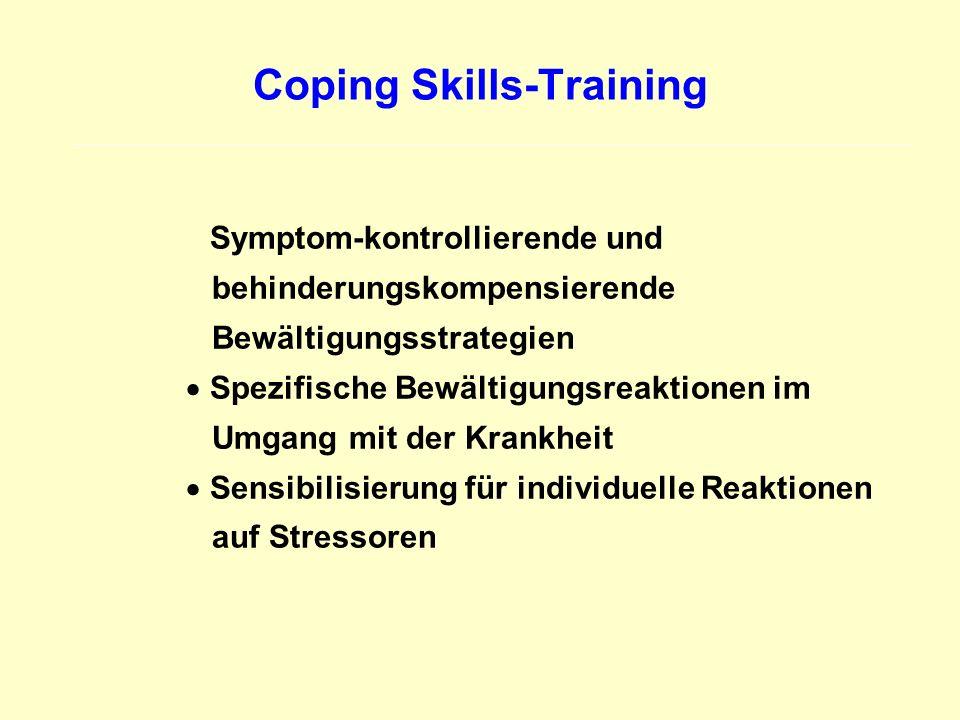Coping Skills-Training Symptom-kontrollierende und behinderungskompensierende Bewältigungsstrategien Spezifische Bewältigungsreaktionen im Umgang mit