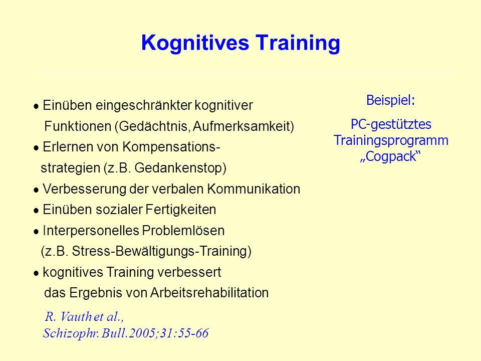 Kognitives Training Einüben eingeschränkter kognitiver Funktionen (Gedächtnis, Aufmerksamkeit) Erlernen von Kompensations- strategien (z.B. Gedankenst