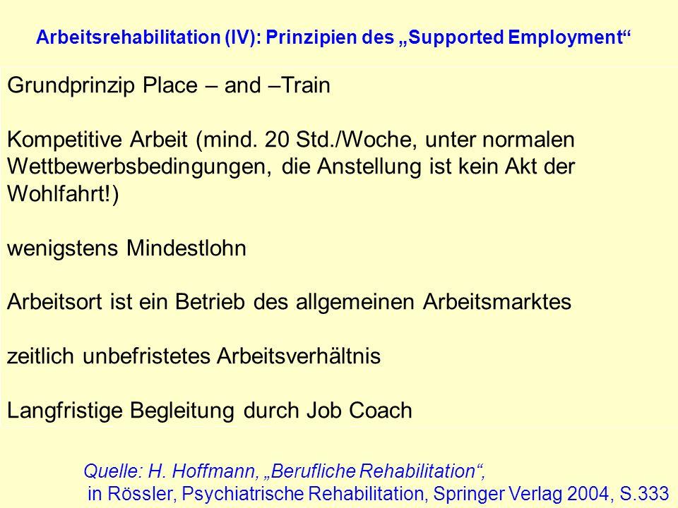 Arbeitsrehabilitation (IV): Prinzipien des Supported Employment Grundprinzip Place – and –Train Kompetitive Arbeit (mind. 20 Std./Woche, unter normale