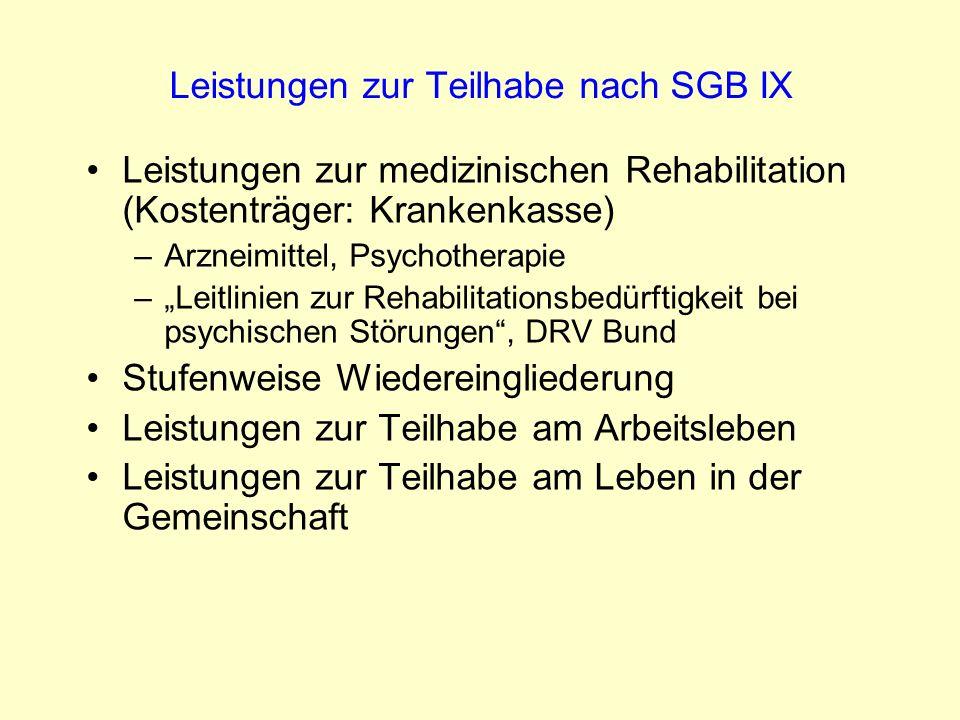 Leistungen zur Teilhabe nach SGB IX Leistungen zur medizinischen Rehabilitation (Kostenträger: Krankenkasse) –Arzneimittel, Psychotherapie –Leitlinien