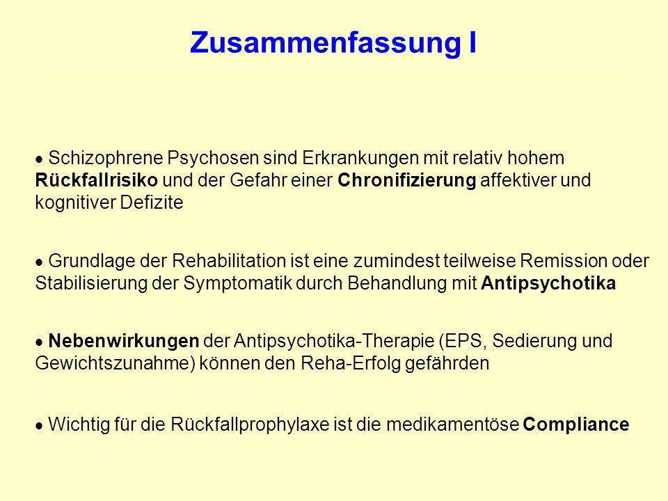 Zusammenfassung I Schizophrene Psychosen sind Erkrankungen mit relativ hohem Rückfallrisiko und der Gefahr einer Chronifizierung affektiver und kognit