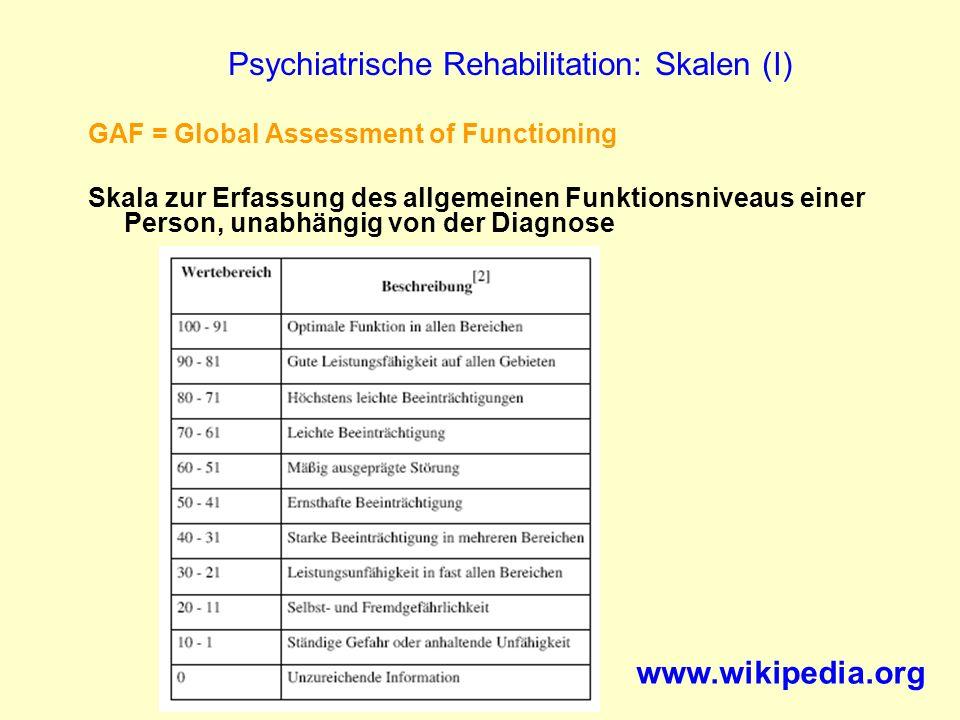 Psychiatrische Rehabilitation: Skalen (I) GAF = Global Assessment of Functioning Skala zur Erfassung des allgemeinen Funktionsniveaus einer Person, un