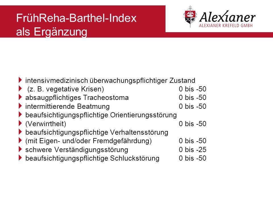 FrühReha-Barthel-Index als Ergänzung intensivmedizinisch überwachungspflichtiger Zustand (z. B. vegetative Krisen) 0 bis -50 absaugpflichtiges Tracheo