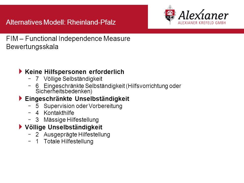 Alternatives Modell: Rheinland-Pfalz FIM – Functional Independence Measure Bewertungsskala Keine Hilfspersonen erforderlich - 7 Völlige Selbständigkei