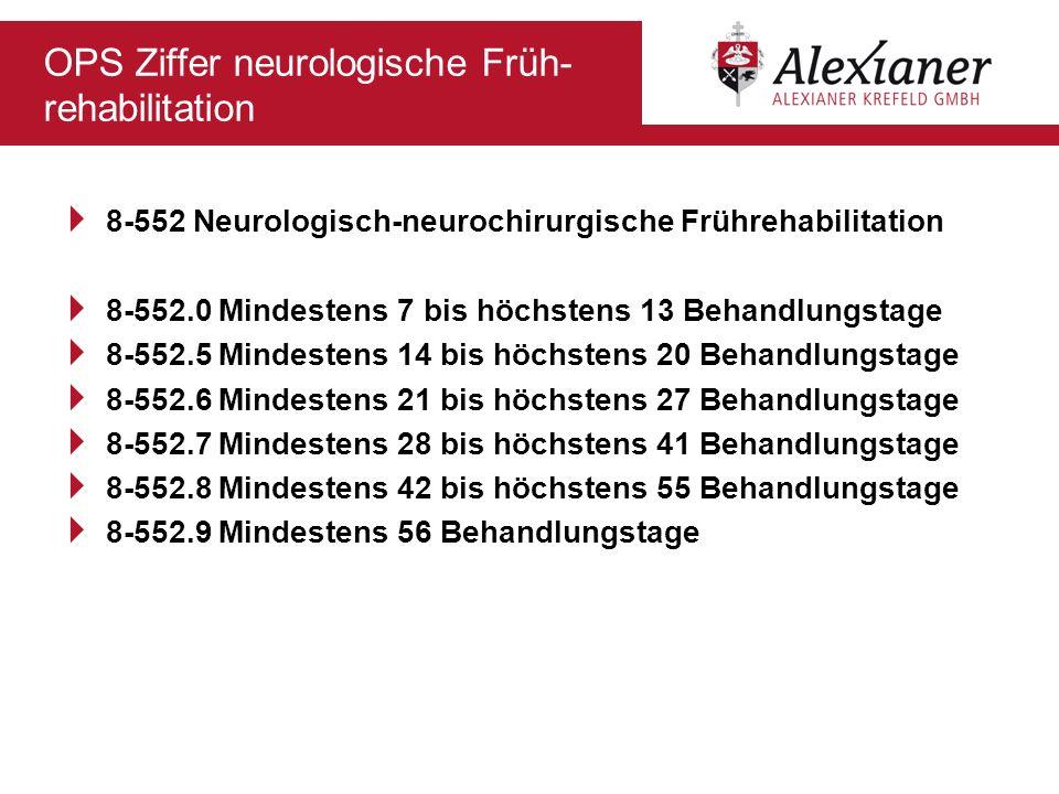 OPS Ziffer neurologische Früh- rehabilitation 8-552 Neurologisch-neurochirurgische Frührehabilitation 8-552.0 Mindestens 7 bis höchstens 13 Behandlung