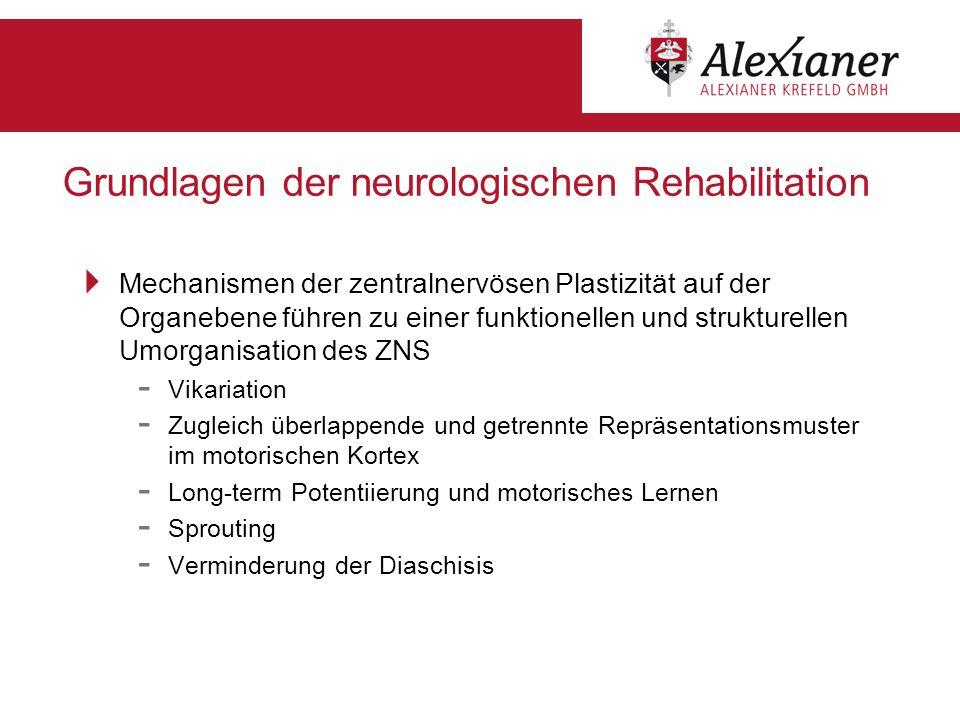 Grundlagen der neurologischen Rehabilitation Mechanismen der zentralnervösen Plastizität auf der Organebene führen zu einer funktionellen und struktur