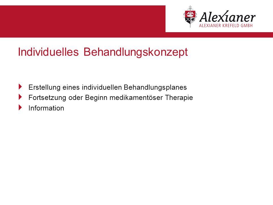 Individuelles Behandlungskonzept Erstellung eines individuellen Behandlungsplanes Fortsetzung oder Beginn medikamentöser Therapie Information