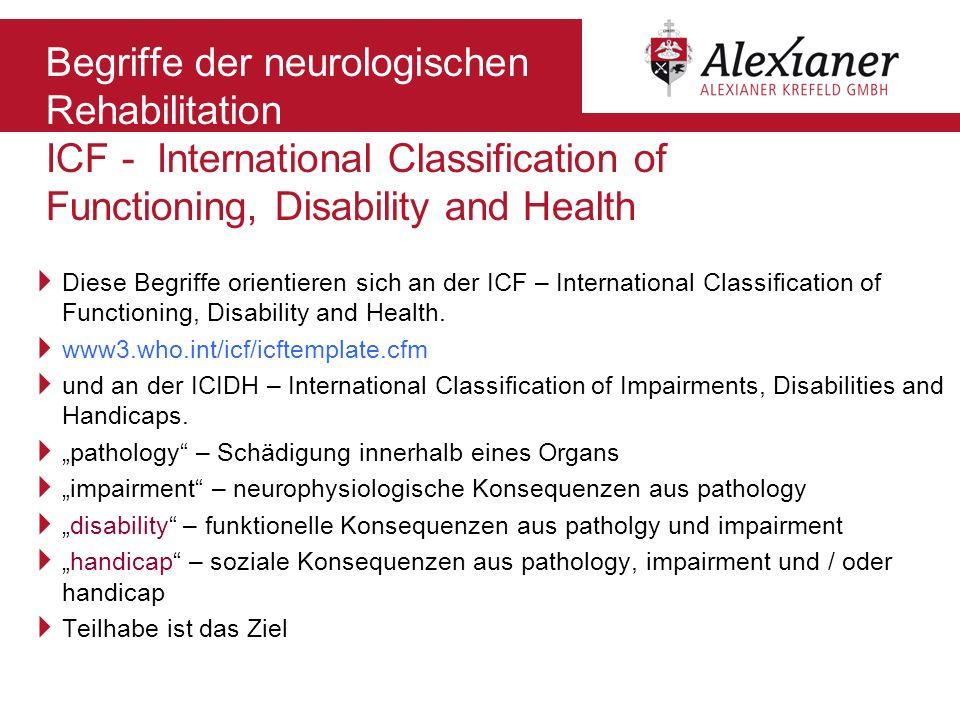 Begriffe der neurologischen Rehabilitation ICF - International Classification of Functioning, Disability and Health Diese Begriffe orientieren sich an