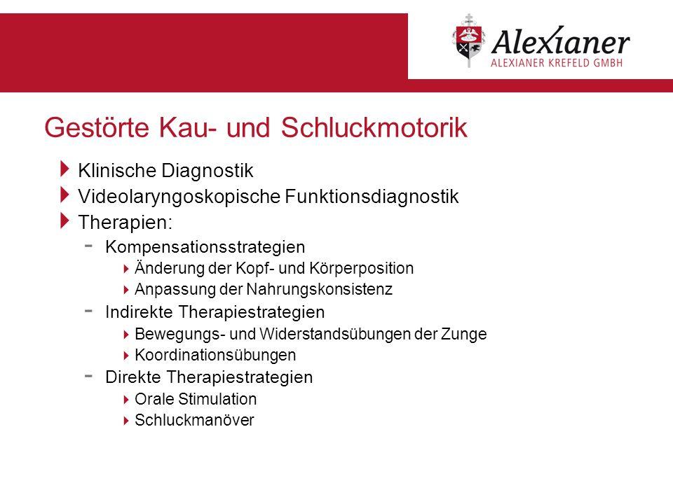 Gestörte Kau- und Schluckmotorik Klinische Diagnostik Videolaryngoskopische Funktionsdiagnostik Therapien: - Kompensationsstrategien Änderung der Kopf