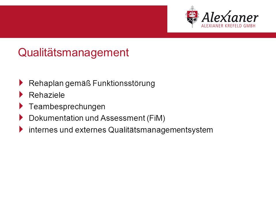 Qualitätsmanagement Rehaplan gemäß Funktionsstörung Rehaziele Teambesprechungen Dokumentation und Assessment (FiM) internes und externes Qualitätsmana
