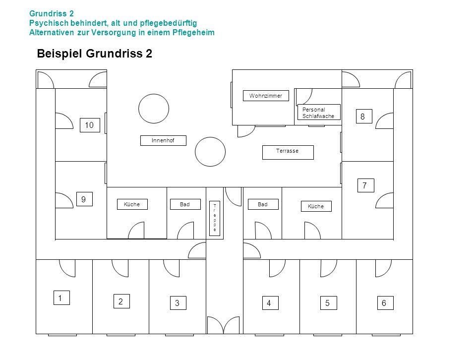 Grundriss 2 Psychisch behindert, alt und pflegebedürftig Alternativen zur Versorgung in einem Pflegeheim Bad 1 2 34 9 56 10 Küche Wohnzimmer Innenhof