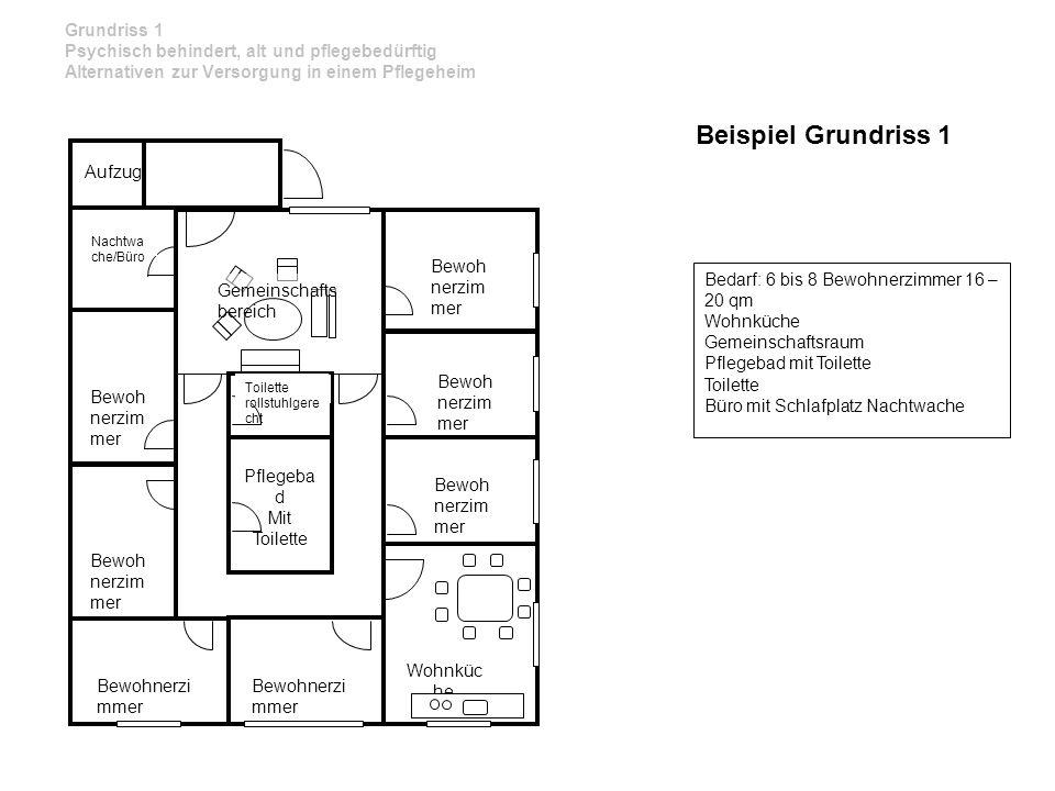 Bedarf: 6 bis 8 Bewohnerzimmer 16 – 20 qm Wohnküche Gemeinschaftsraum Pflegebad mit Toilette Toilette Büro mit Schlafplatz Nachtwache Aufzug Pflegeba