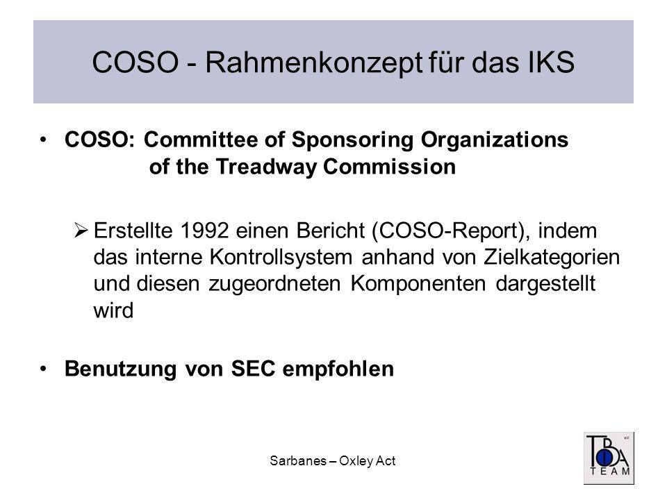 Sarbanes – Oxley Act COSO - Rahmenkonzept für das IKS COSO: Committee of Sponsoring Organizations of the Treadway Commission Erstellte 1992 einen Beri