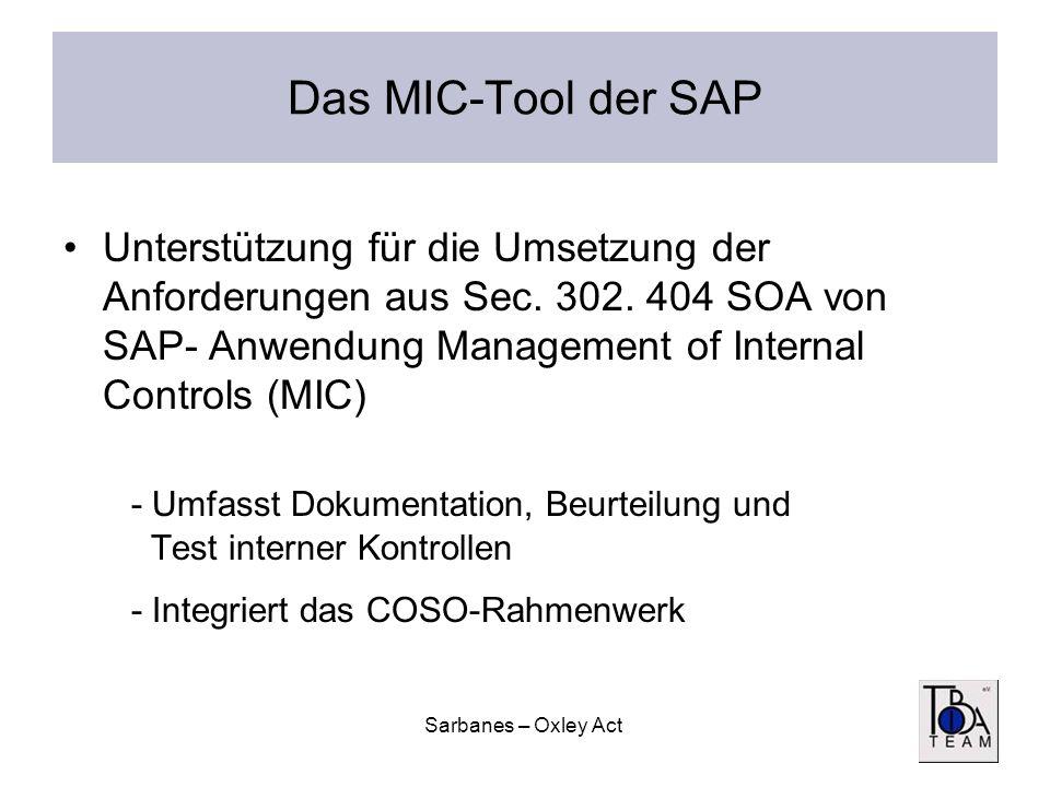 Sarbanes – Oxley Act Das MIC-Tool der SAP Unterstützung für die Umsetzung der Anforderungen aus Sec. 302. 404 SOA von SAP- Anwendung Management of Int