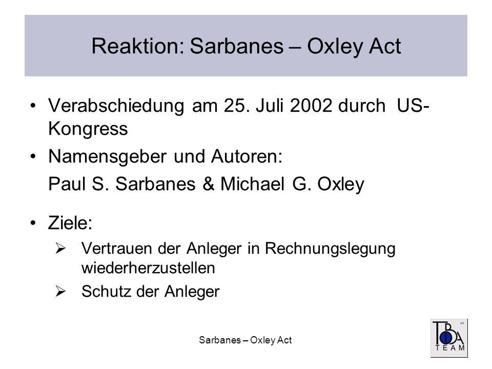 Sarbanes – Oxley Act Reaktion: Sarbanes – Oxley Act Verabschiedung am 25. Juli 2002 durch US- Kongress Namensgeber und Autoren: Paul S. Sarbanes & Mic