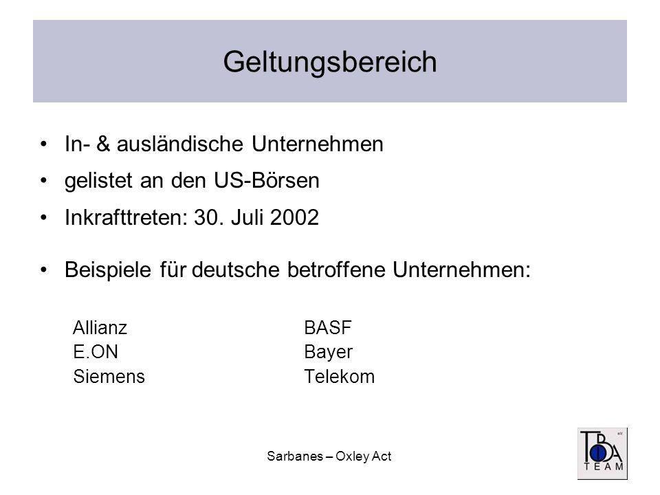 Sarbanes – Oxley Act Geltungsbereich In- & ausländische Unternehmen gelistet an den US-Börsen Inkrafttreten: 30. Juli 2002 Beispiele für deutsche betr