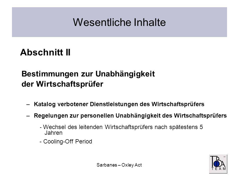 Sarbanes – Oxley Act Wesentliche Inhalte Bestimmungen zur Unabhängigkeit der Wirtschaftsprüfer –Katalog verbotener Dienstleistungen des Wirtschaftsprü