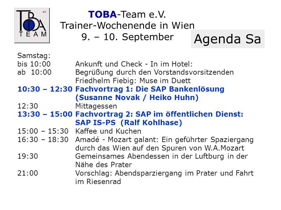 TOBA-Team e.V. Trainer-Wochenende in Wien 9. – 10.