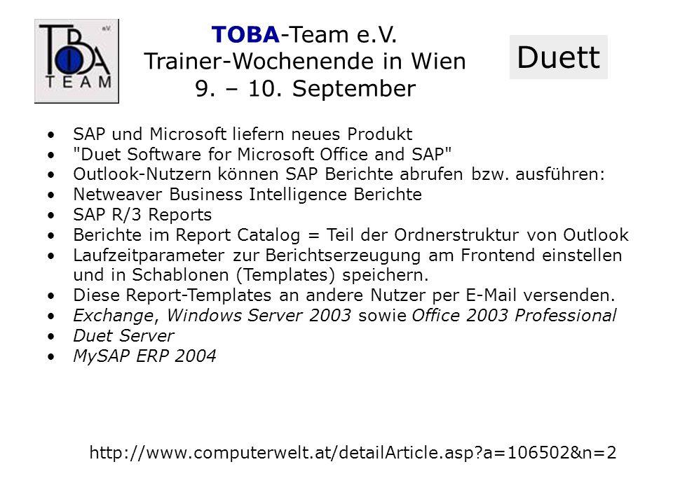 TOBA-Team e.V. Trainer-Wochenende in Wien 9. – 10. September