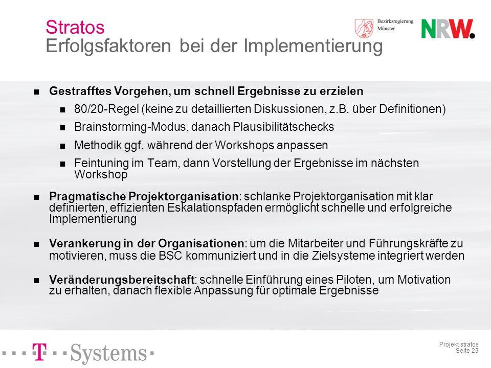Projekt stratos Seite 22 Kaskadierung der BSC BSC 1. Ebene: Abteilungsleiter 10 BR Münster BSCs 2. Ebene: Hauptdezernent 102 BR Münster Grundsätzliche