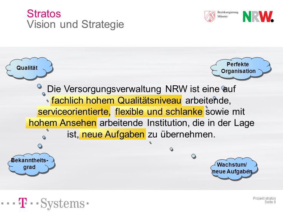 Projekt stratos Seite 8 Perfekte Organisation Qualität Bekanntheits- grad Die Versorgungsverwaltung NRW ist eine auf fachlich hohem Qualitätsniveau arbeitende, serviceorientierte, flexible und schlanke sowie mit hohem Ansehen arbeitende Institution, die in der Lage ist, neue Aufgaben zu übernehmen.