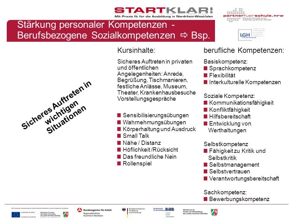 Stärkung personaler Kompetenzen - Berufsbezogene Sozialkompetenzen Bsp.