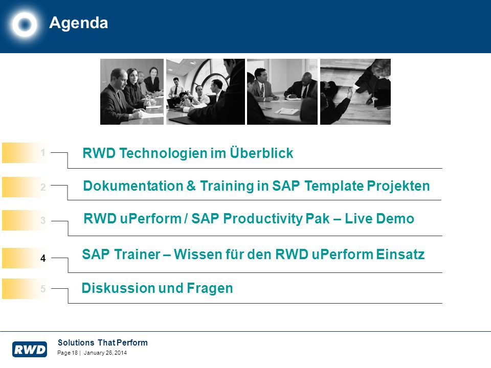 Solutions That Perform Page 18 | January 26, 2014 Agenda RWD Technologien im Überblick RWD uPerform / SAP Productivity Pak – Live Demo 2 3 Dokumentati