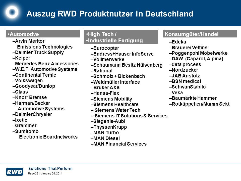 Solutions That Perform Page 26 | January 26, 2014 Auszug RWD Produktnutzer in Deutschland –Arvin Meritor Emissions Technologies –Daimler Truck Supply