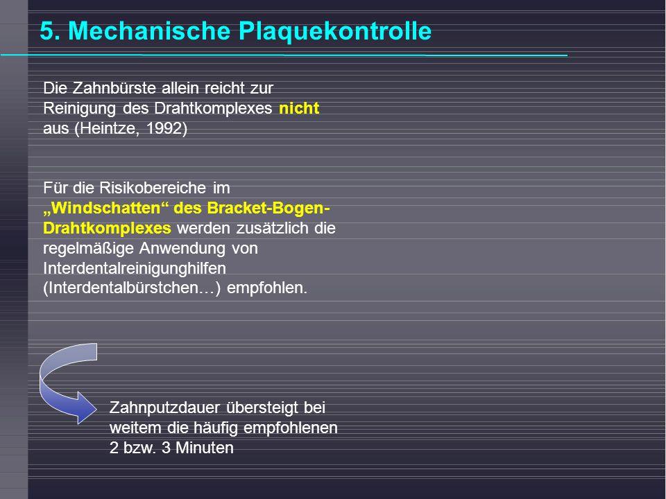 Die Zahnbürste allein reicht zur Reinigung des Drahtkomplexes nicht aus (Heintze, 1992) Für die Risikobereiche im Windschatten des Bracket-Bogen- Drah