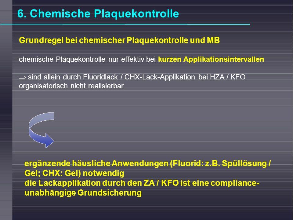 Grundregel bei chemischer Plaquekontrolle und MB chemische Plaquekontrolle nur effektiv bei kurzen Applikationsintervallen sind allein durch Fluoridla