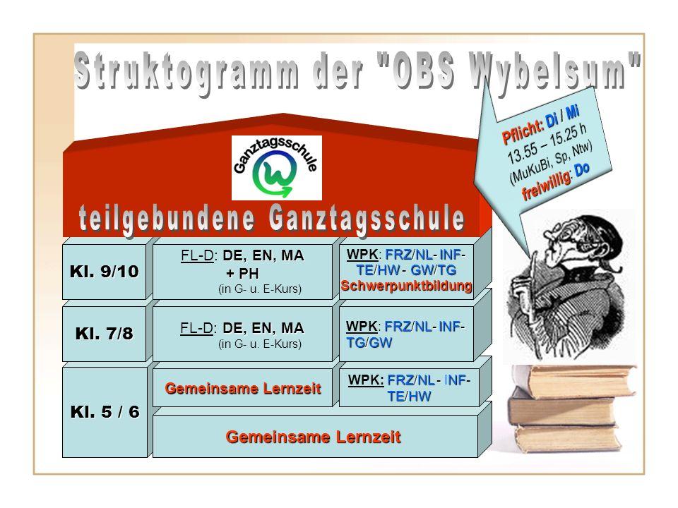 Kl. 5 / 6 Gemeinsame Lernzeit WPK: F FF FRZ/NL - INF- TE/HW Kl. 7/8 DE, EN, MA FL-D: DE, EN, MA (in G- u. E-Kurs) Kl. 9/10 DE, EN, MA FL-D: DE, EN, MA