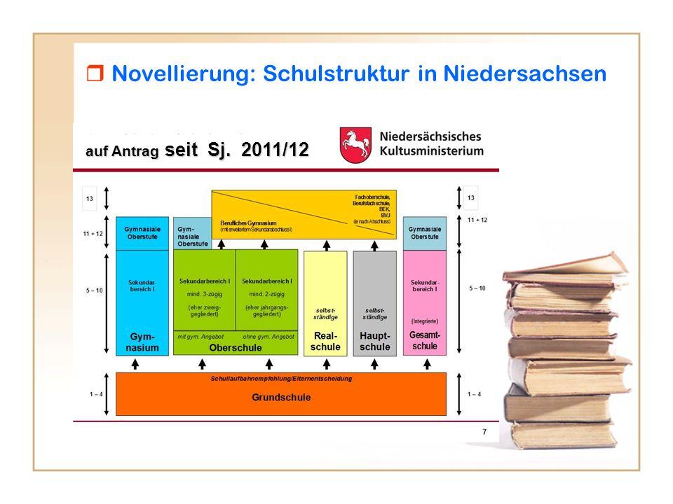 Novellierung: Schulstruktur in Niedersachsen auf Antrag seit Sj. 2011/12