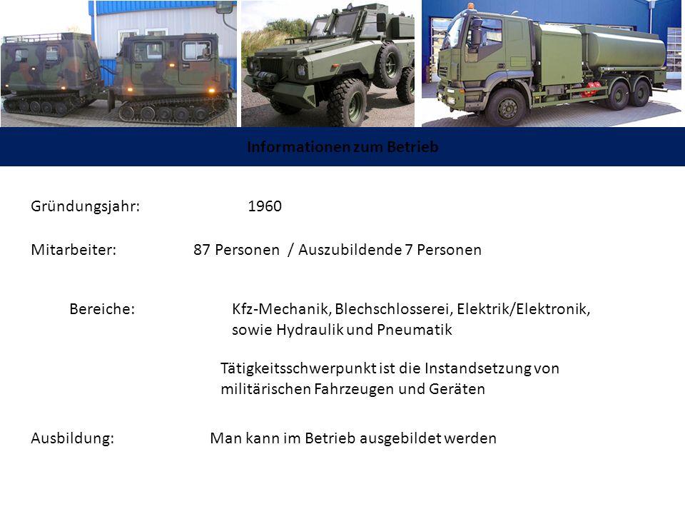 Informationen zum Betrieb Gründungsjahr: 1960 Mitarbeiter: 87 Personen / Auszubildende 7 Personen Bereiche: Kfz-Mechanik, Blechschlosserei, Elektrik/E