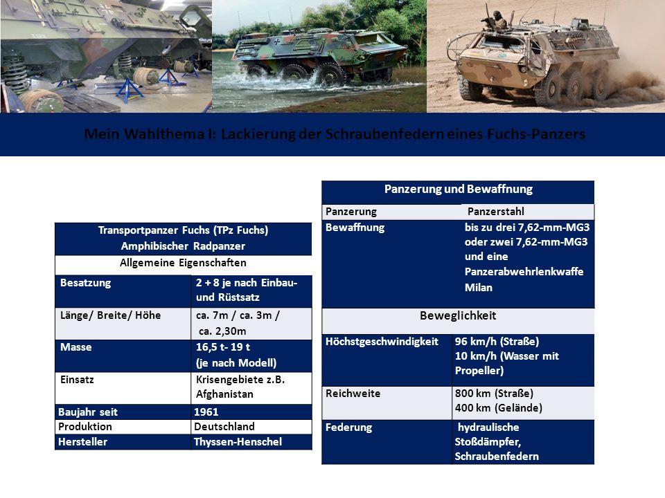 Mein Wahlthema I: Lackierung der Schraubenfedern eines Fuchs-Panzers Panzerung und Bewaffnung Panzerung Panzerstahl Bewaffnung bis zu drei 7,62-mm-MG3 oder zwei 7,62-mm-MG3 und eine Panzerabwehrlenkwaffe Milan Beweglichkeit Höchstgeschwindigkeit 96 km/h (Straße) 10 km/h (Wasser mit Propeller) Reichweite 800 km (Straße) 400 km (Gelände) Federung hydraulische Stoßdämpfer, Schraubenfedern Transportpanzer Fuchs (TPz Fuchs) Amphibischer Radpanzer Allgemeine Eigenschaften Besatzung 2 + 8 je nach Einbau- und Rüstsatz Länge/ Breite/ Höhe ca.