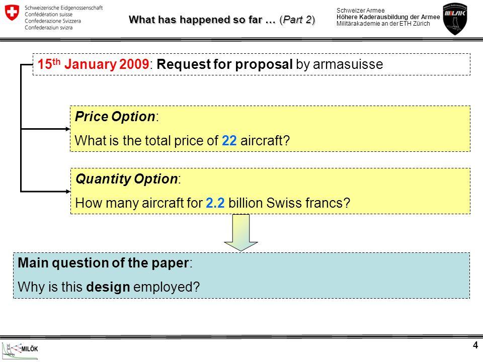 Schweizer Armee Höhere Kaderausbildung der Armee Militärakademie an der ETH Zürich 4 15 th January 2009: Request for proposal by armasuisse Price Option: What is the total price of 22 aircraft.