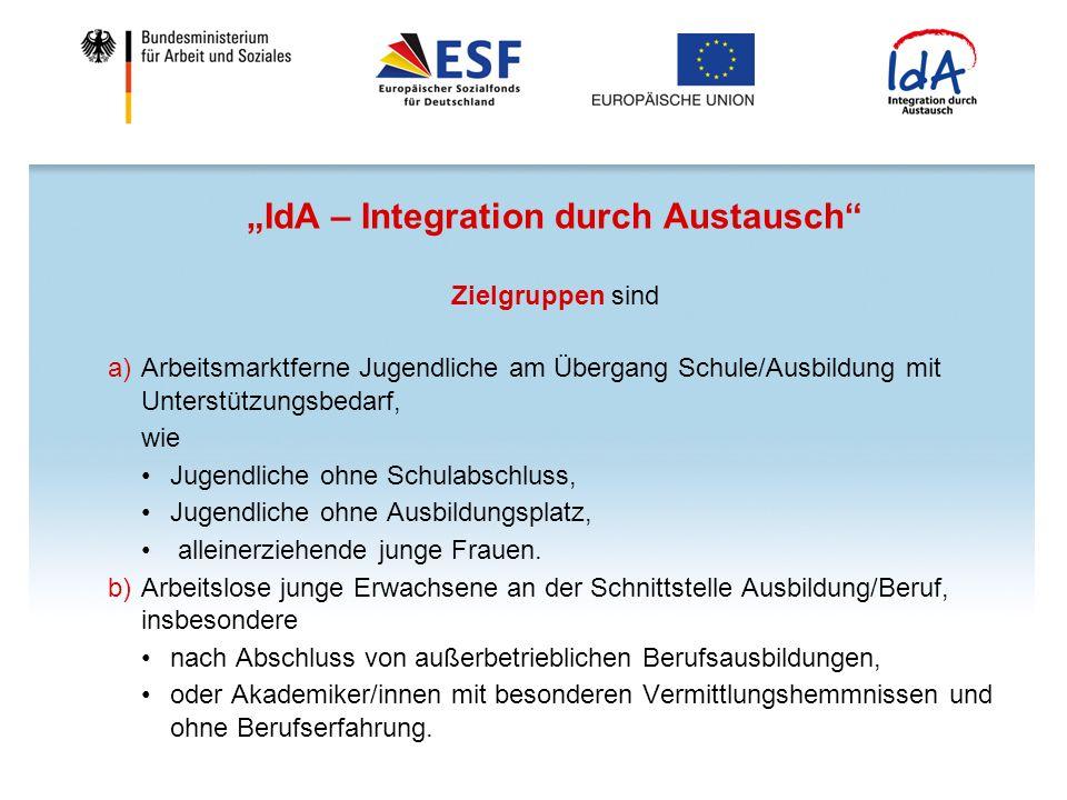 IdA – Integration durch Austausch Zielgruppen sind a)Arbeitsmarktferne Jugendliche am Übergang Schule/Ausbildung mit Unterstützungsbedarf, wie Jugendliche ohne Schulabschluss, Jugendliche ohne Ausbildungsplatz, alleinerziehende junge Frauen.