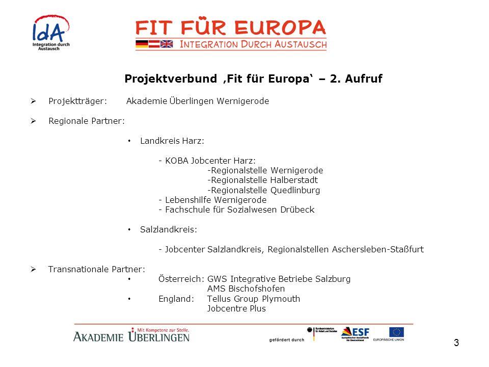 3 Projektverbund Fit für Europa – 2. Aufruf Projektträger: Akademie Überlingen Wernigerode Regionale Partner: Landkreis Harz: - KOBA Jobcenter Harz: -
