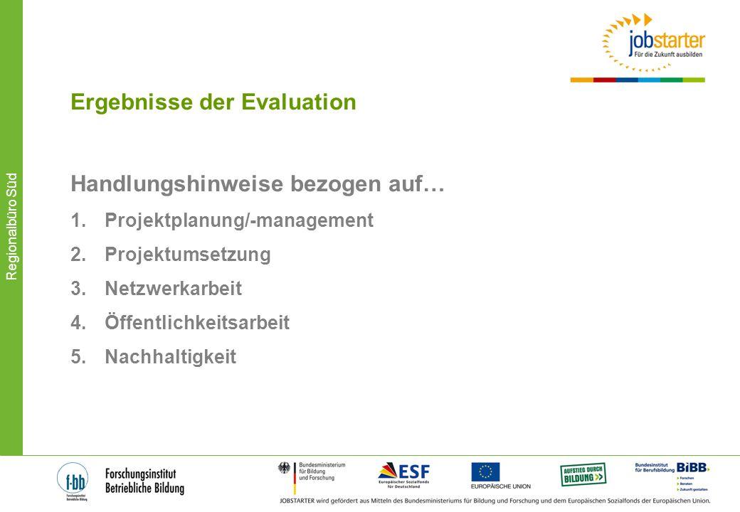 Regionalbüro Süd Ergebnisse der Evaluation Handlungshinweise bezogen auf… 1.Projektplanung/-management 2.Projektumsetzung 3.Netzwerkarbeit 4.Öffentlic