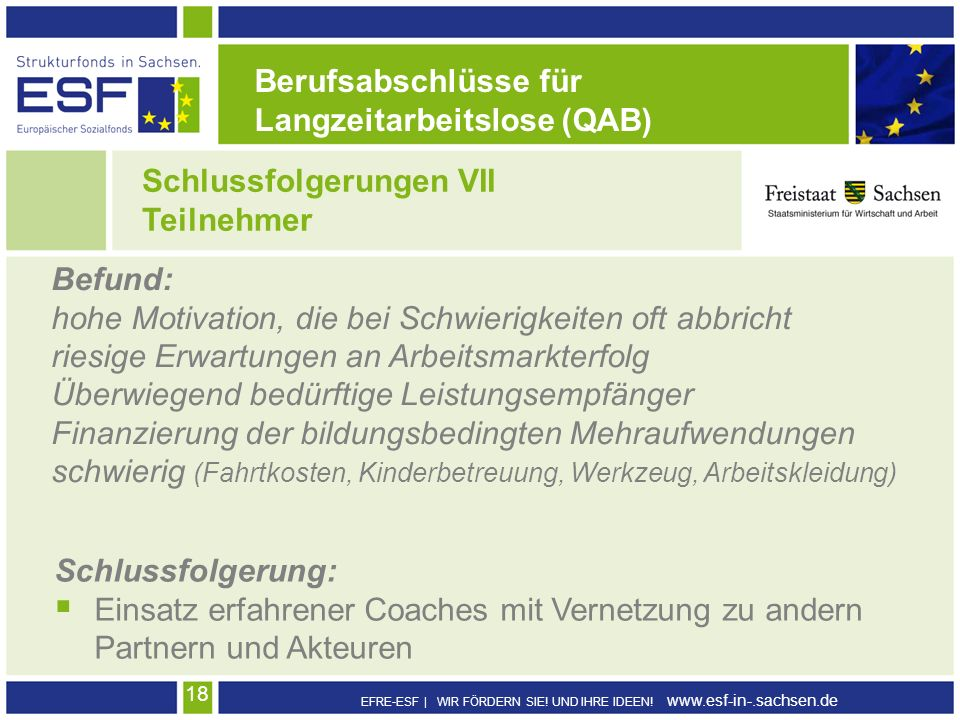 EFRE-ESF | WIR FÖRDERN SIE! UND IHRE IDEEN! www.esf-in-.sachsen.de 18 Schlussfolgerungen VII Teilnehmer Berufsabschlüsse für Langzeitarbeitslose (QAB)