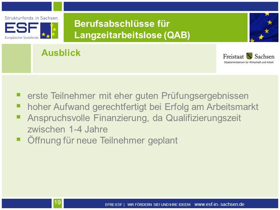 EFRE-ESF | WIR FÖRDERN SIE! UND IHRE IDEEN! www.esf-in-.sachsen.de 19 Ausblick Berufsabschlüsse für Langzeitarbeitslose (QAB) erste Teilnehmer mit ehe