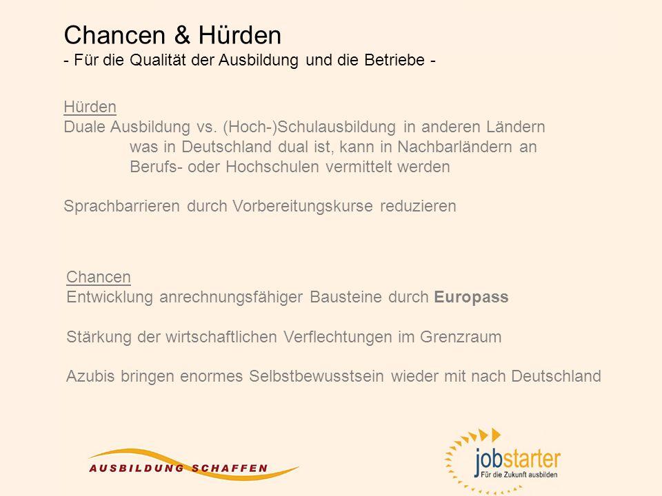Hürden Duale Ausbildung vs. (Hoch-)Schulausbildung in anderen Ländern was in Deutschland dual ist, kann in Nachbarländern an Berufs- oder Hochschulen